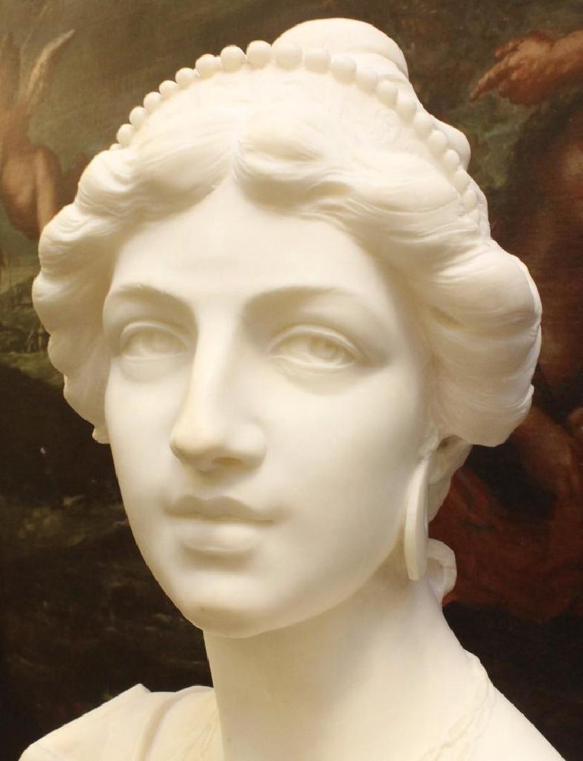 "Alabaster Bust ""Lvcrezia Romana"" and Marble Pedestal - 3"