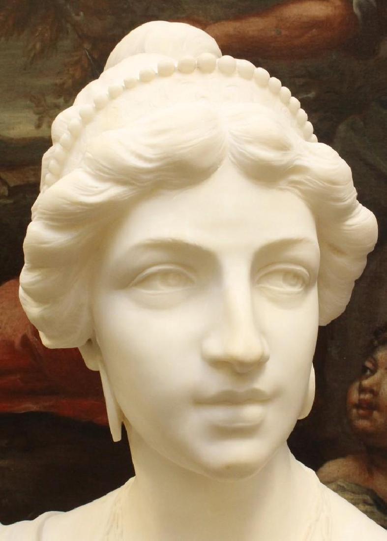 "Alabaster Bust ""Lvcrezia Romana"" and Marble Pedestal - 4"