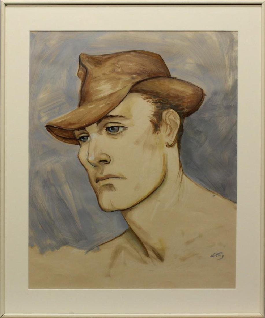 """Emlen Etting (1905-1992) """"Man with Hat"""""""