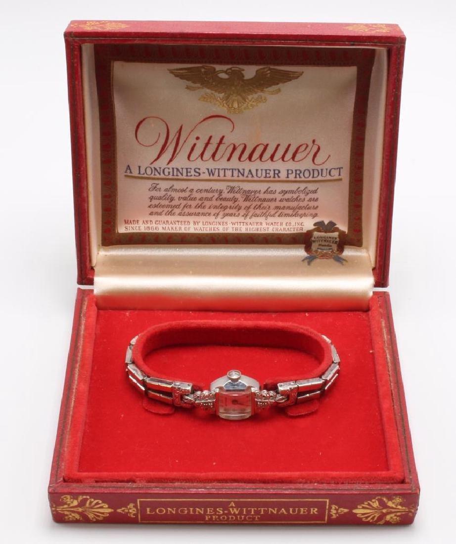 LADIES LONGINES WITTNAUER WATCH. 14K GOLD CASE. DIAMOND - 5