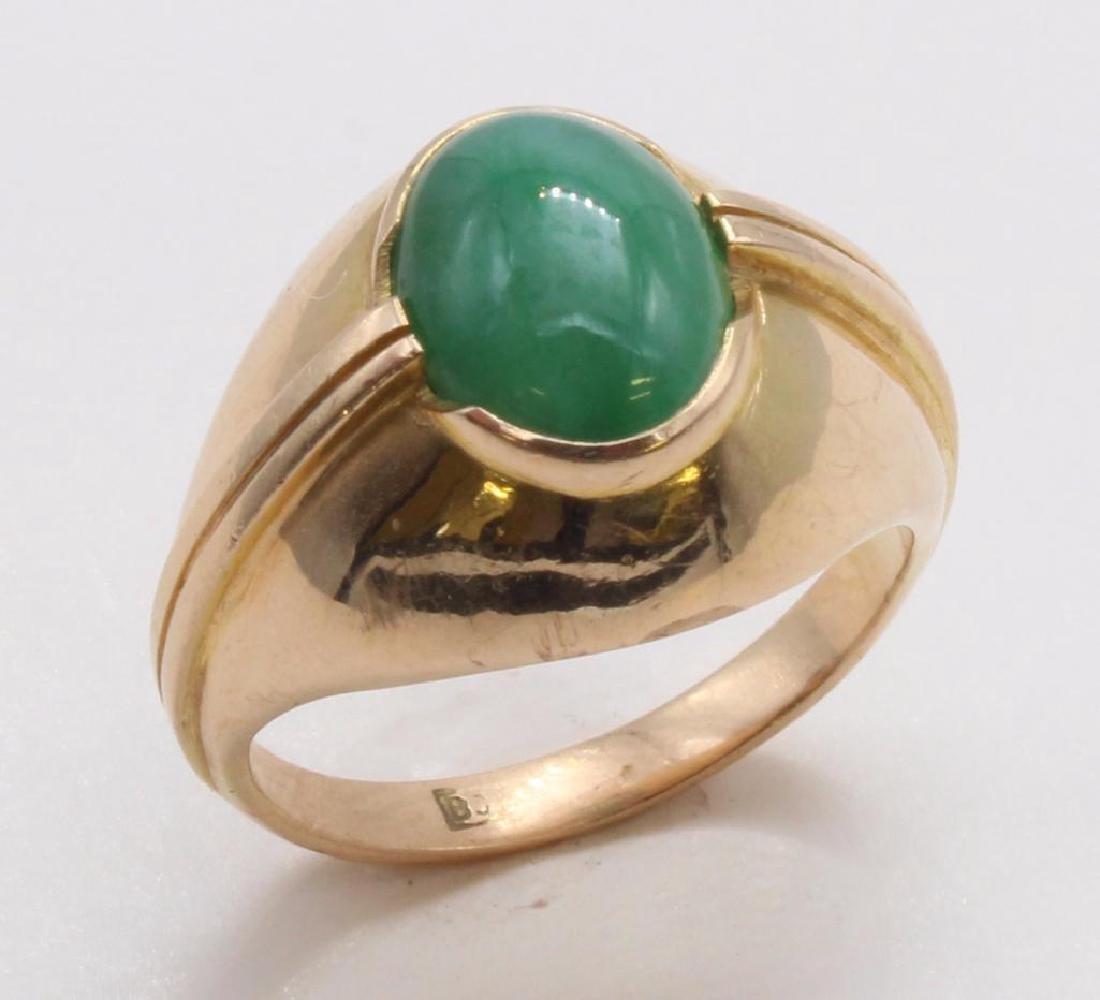 RING. GREEN JADE. 18K YELLOW GOLD