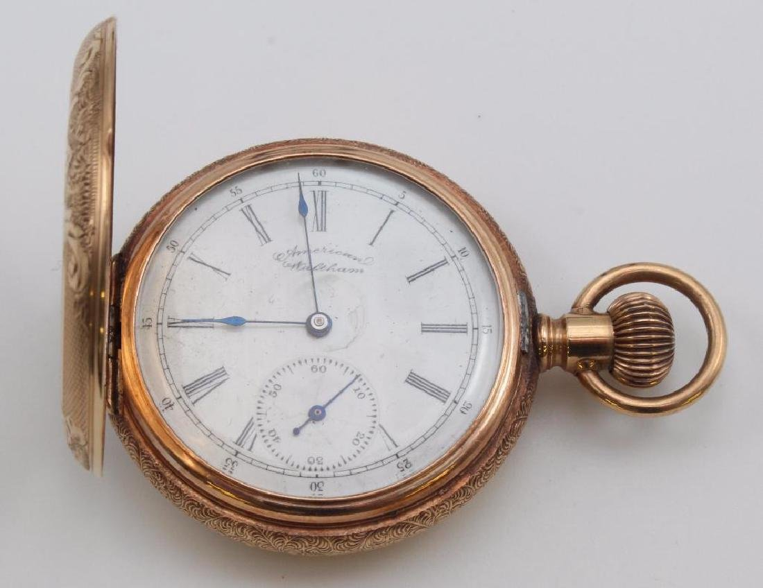 AMERICAN WALTHAM POCKET WATCH WITH CHAIN. 14K ROSE GOLD