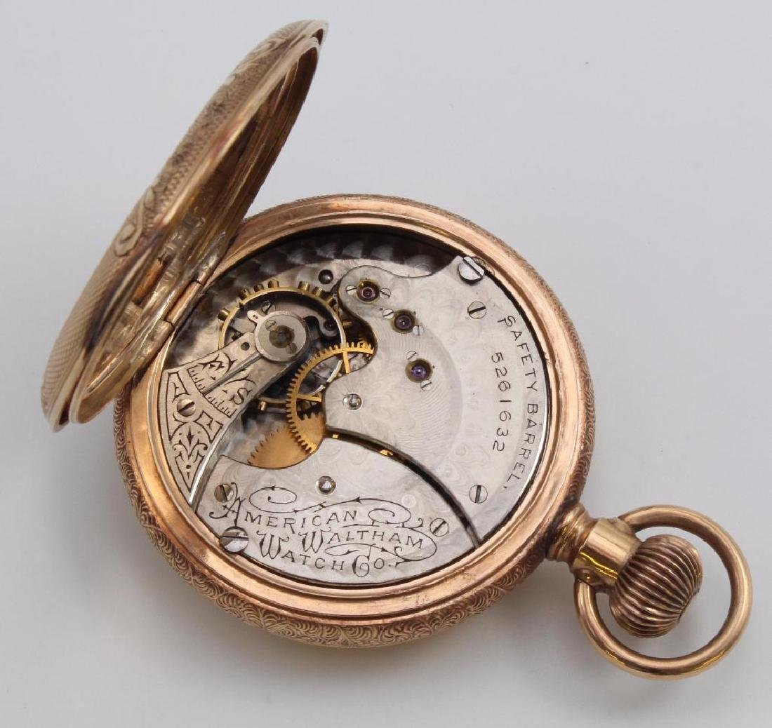 AMERICAN WALTHAM POCKET WATCH WITH CHAIN. 14K ROSE GOLD - 3