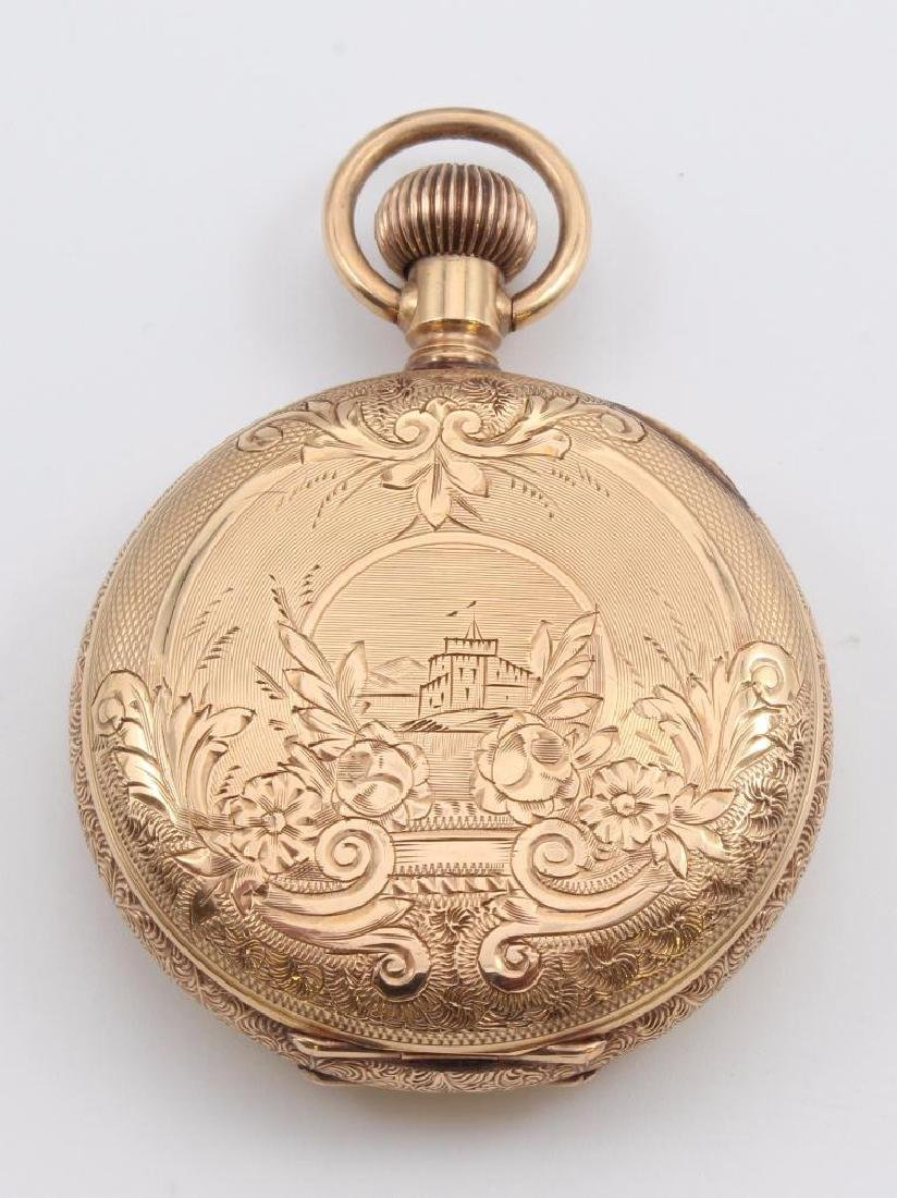 AMERICAN WALTHAM POCKET WATCH WITH CHAIN. 14K ROSE GOLD - 4