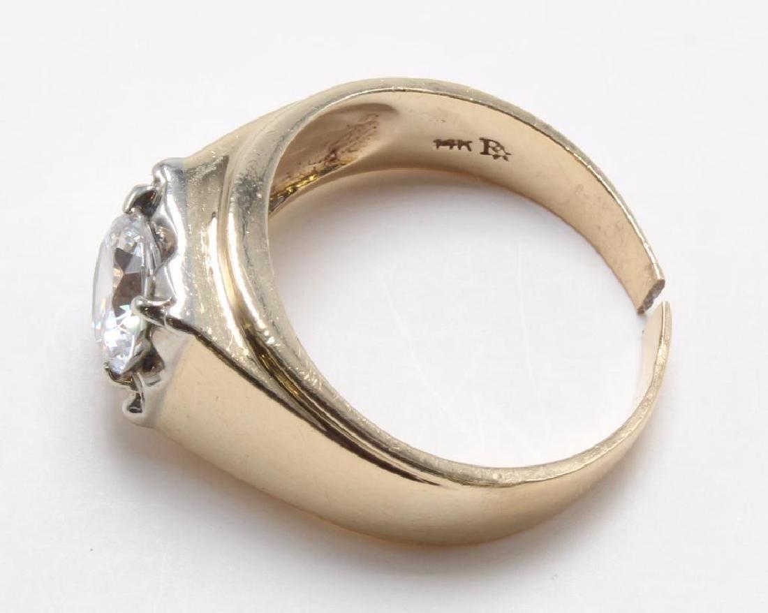 RING. WHITE TOPAZ. 14K YELLOW GOLD - 3