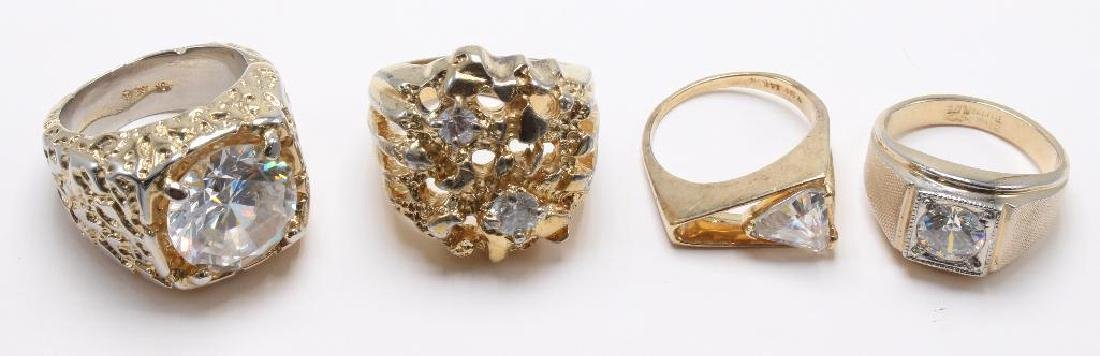 RINGS. CZ. GOLD TONE ELECTROPLATE