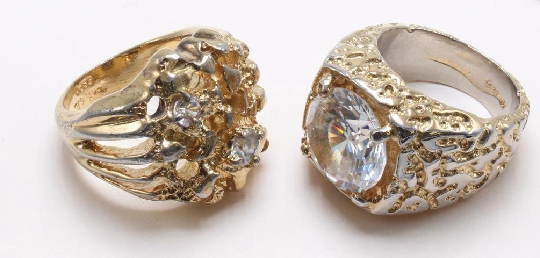 RINGS. CZ. GOLD TONE ELECTROPLATE - 2