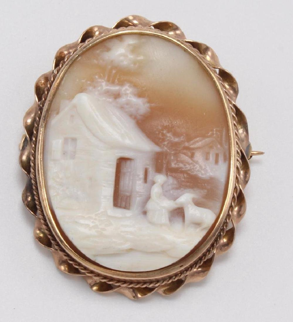 PIN PENDANT. SHELL CAMEO. SCENIC. 10K ROSE GOLD