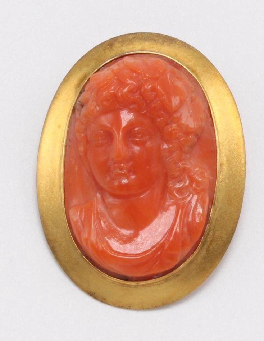PIN. CORAL CAMEO. PORTRAIT. 10K YELLOW GOLD FRAME