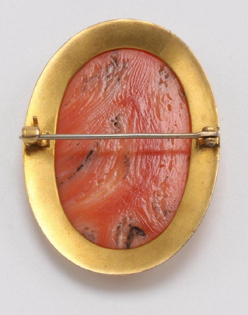 PIN. CORAL CAMEO. PORTRAIT. 10K YELLOW GOLD FRAME - 2
