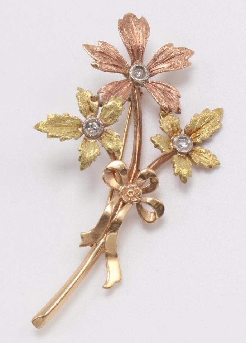 PIN. FLORAL. DIAMOND. 14K TRI-COLOR GOLD