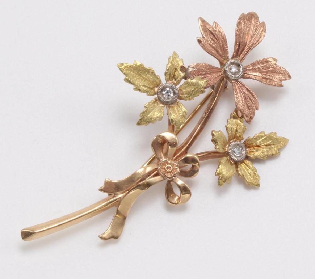 PIN. FLORAL. DIAMOND. 14K TRI-COLOR GOLD - 2
