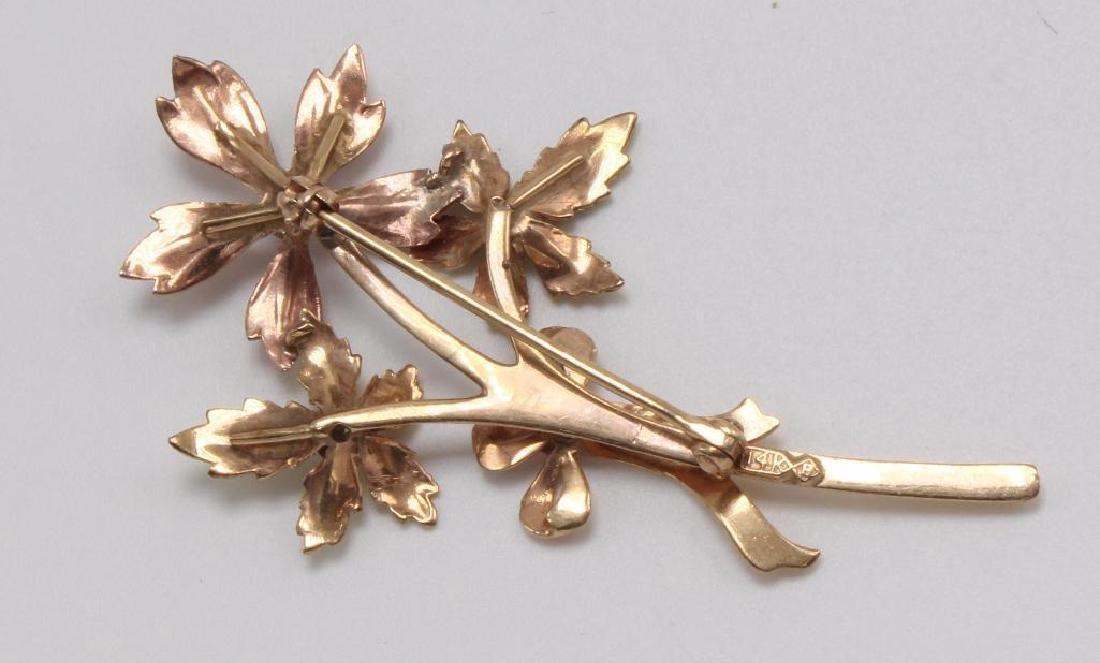 PIN. FLORAL. DIAMOND. 14K TRI-COLOR GOLD - 3