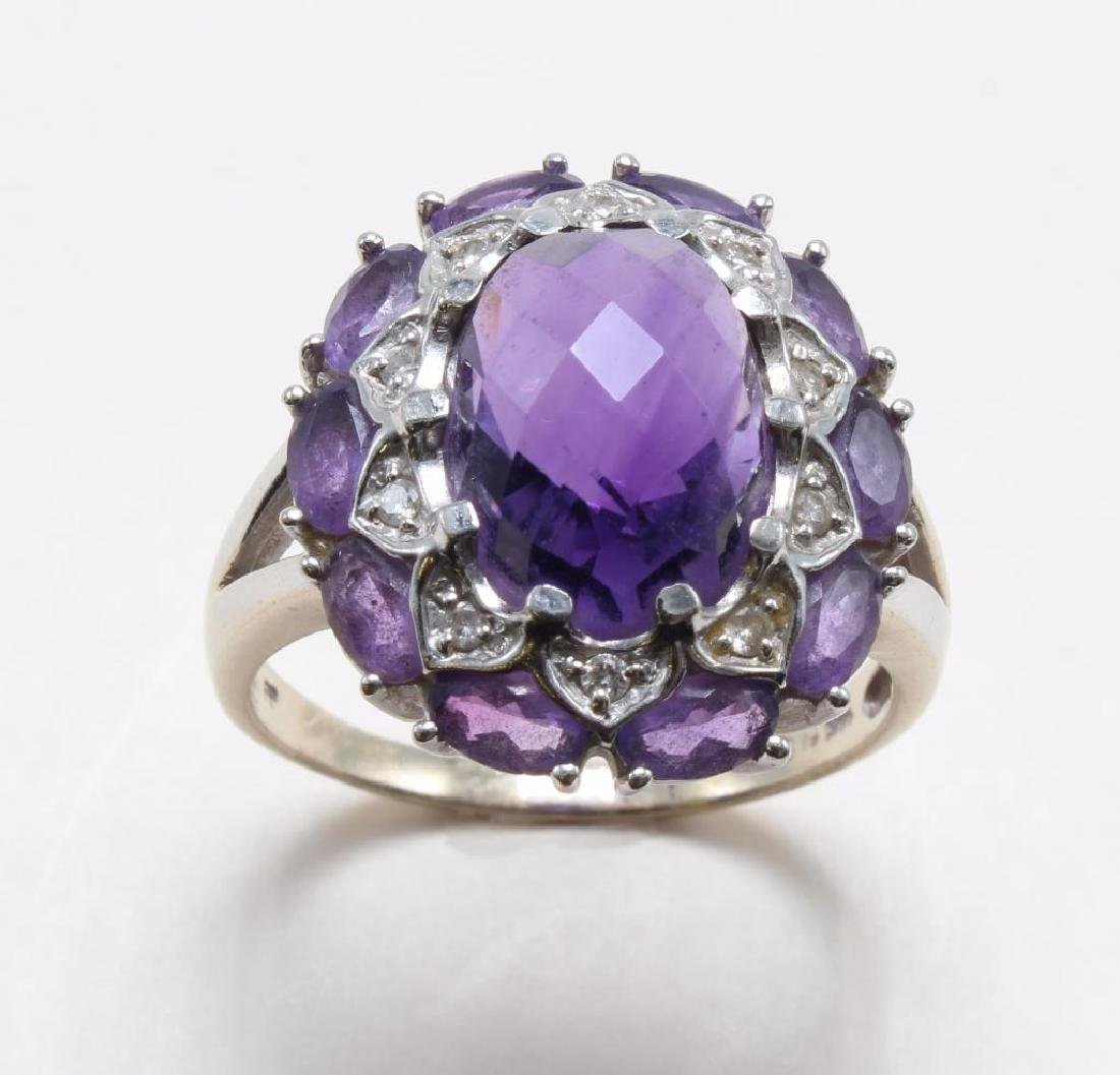 RING. AMETHYST AND DIAMOND. 14K WHITE GOLD