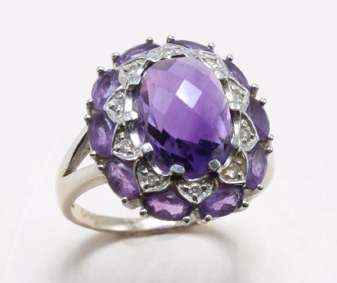 RING. AMETHYST AND DIAMOND. 14K WHITE GOLD - 2