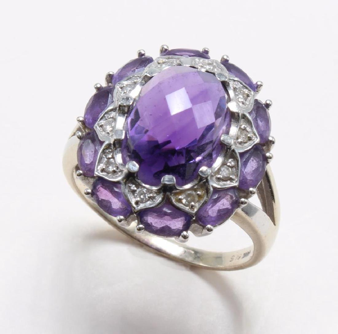 RING. AMETHYST AND DIAMOND. 14K WHITE GOLD - 3