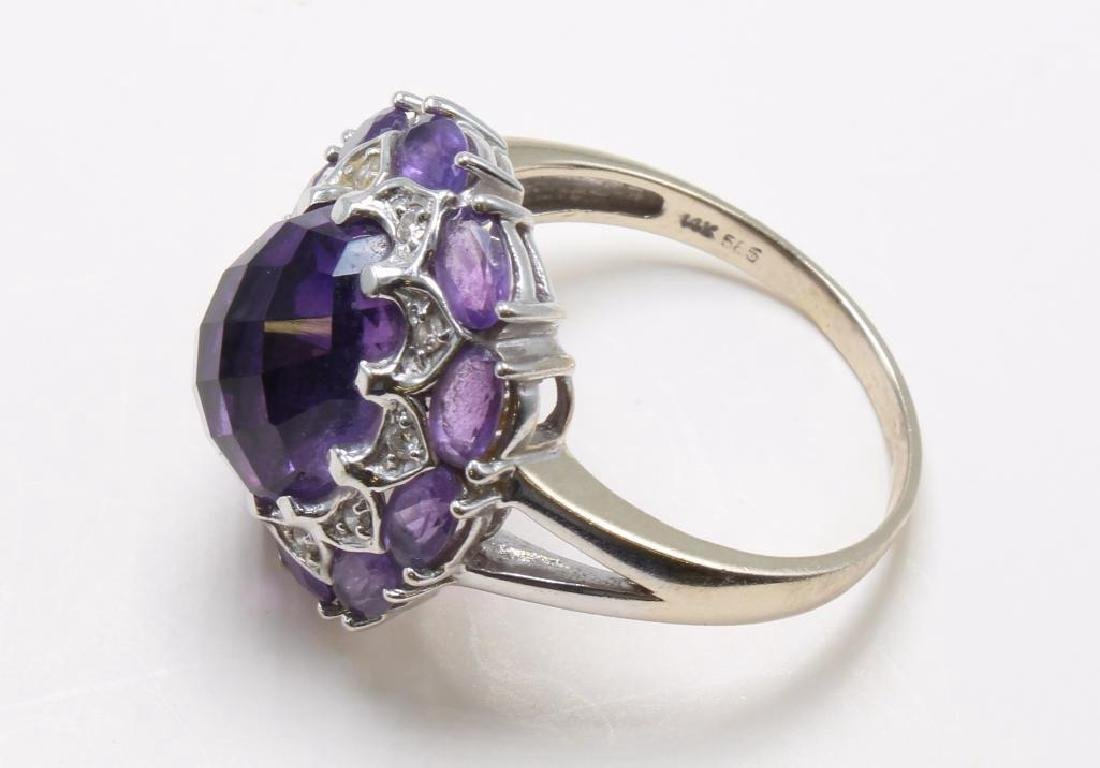 RING. AMETHYST AND DIAMOND. 14K WHITE GOLD - 4