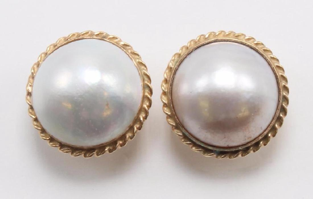 EARRINGS. MABE PEARL. 14K YELLOW GOLD