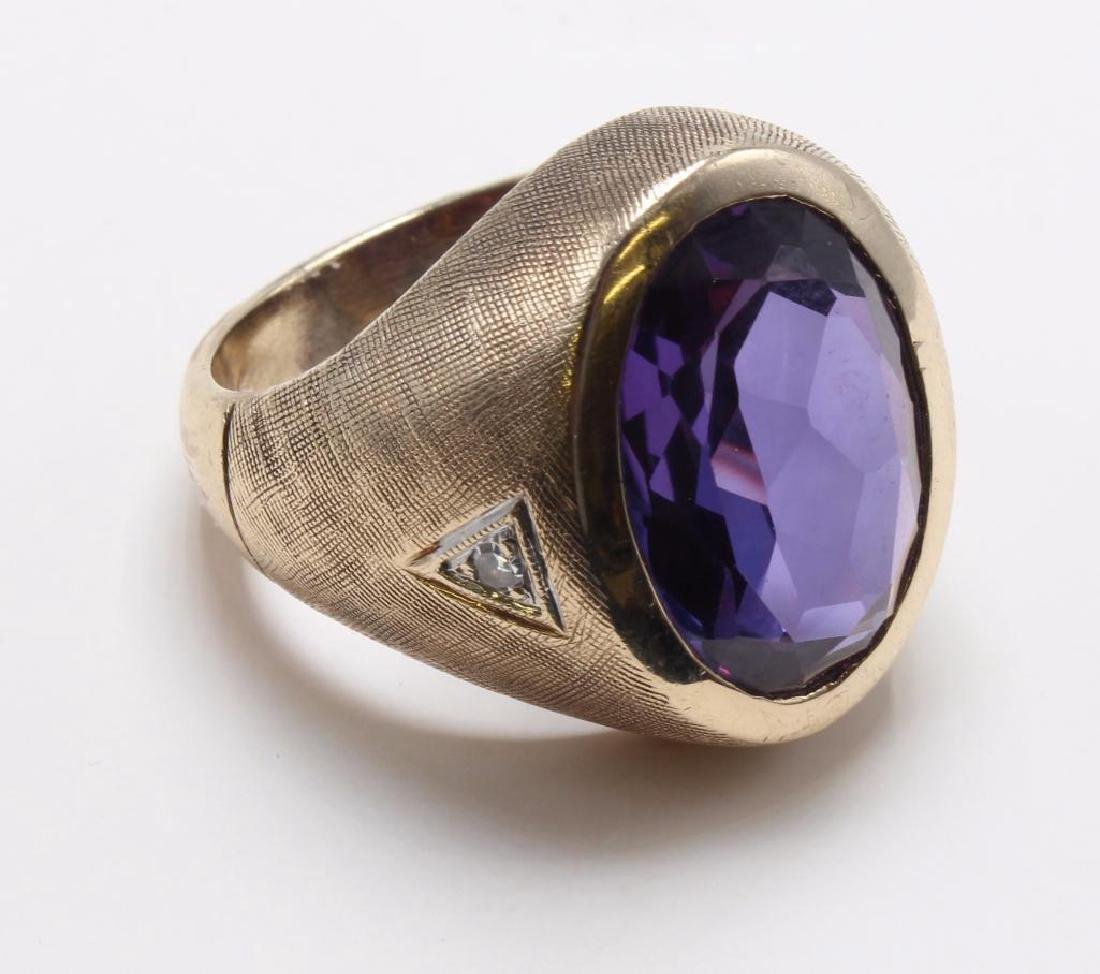 RING. SYNTHETIC ALEXANDRITE, DIAMOND. 14K YELLOW GOLD