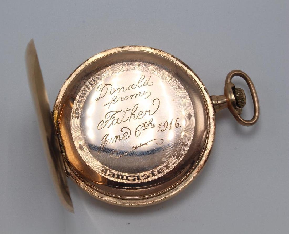 POCKET WATCH. HAMILTON. GOLD FILLED - 4