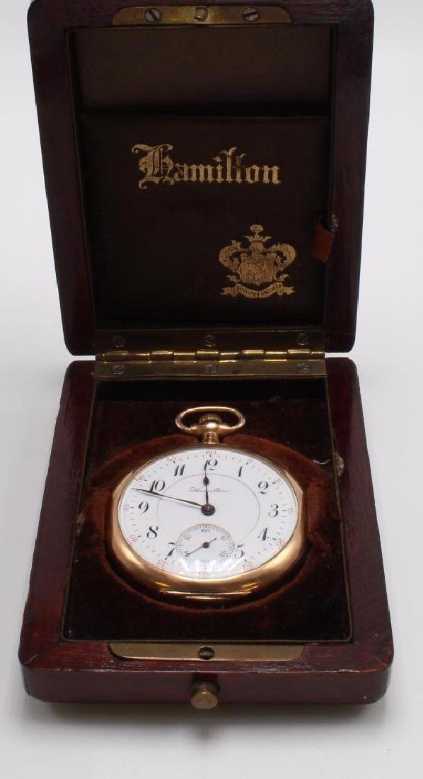 POCKET WATCH. HAMILTON. GOLD FILLED - 5