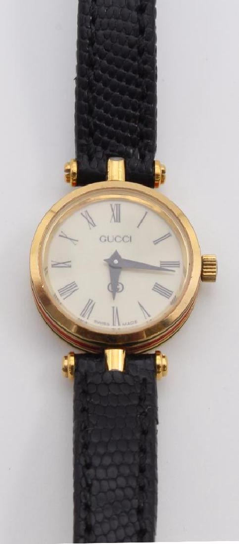 GUCCI WRIST WATCH. 18K GOLD PLATED. RED & GREEN ENAMEL