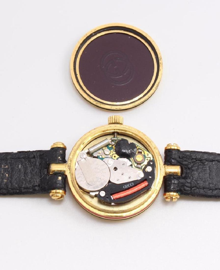 GUCCI WRIST WATCH. 18K GOLD PLATED. RED & GREEN ENAMEL - 3