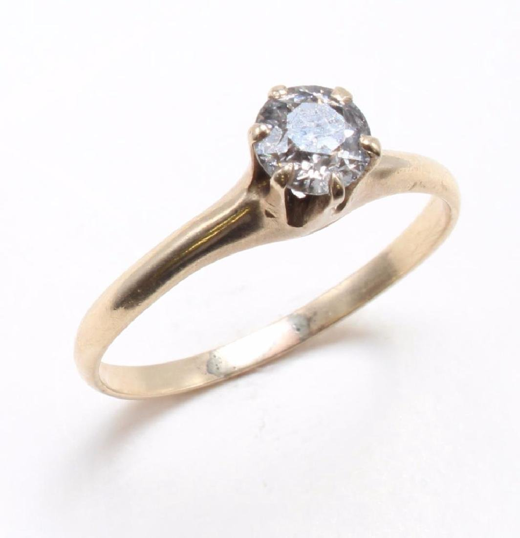 RING. .65CT DIAMOND SOLITAIRE. 14K YELLOW GOLD