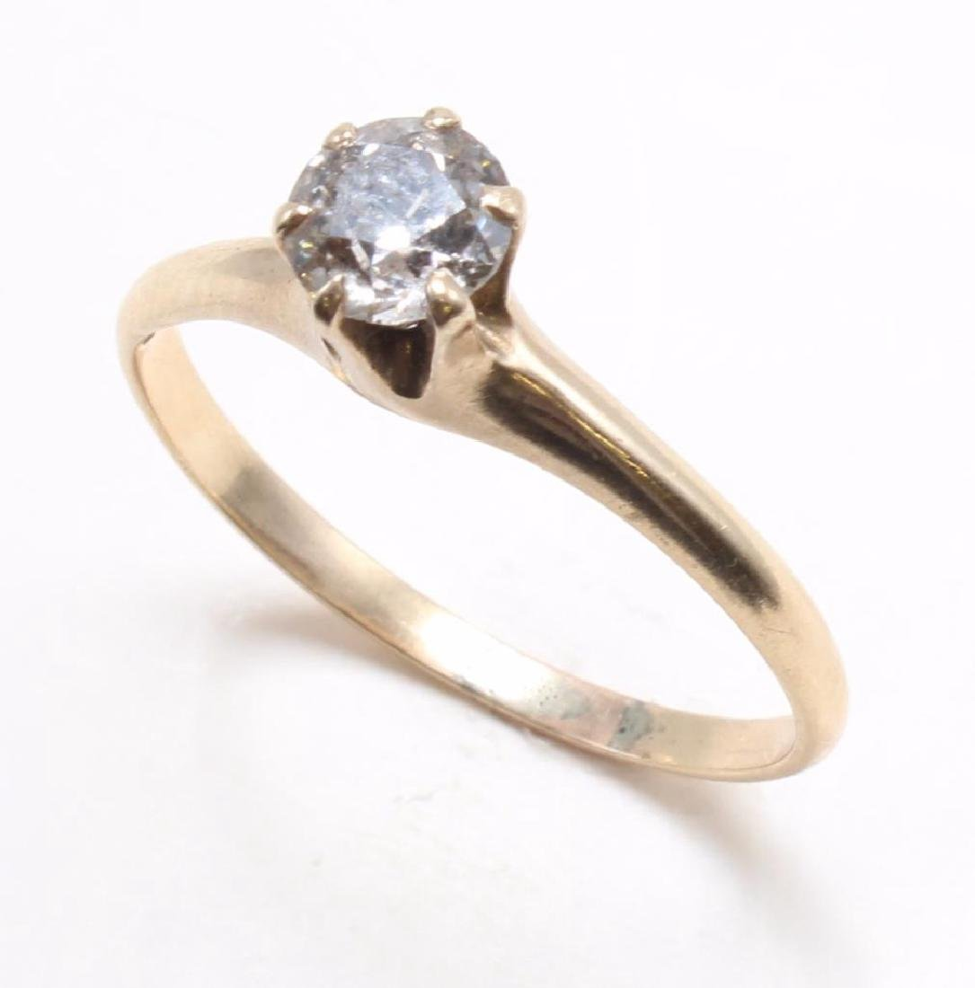 RING. .65CT DIAMOND SOLITAIRE. 14K YELLOW GOLD - 3