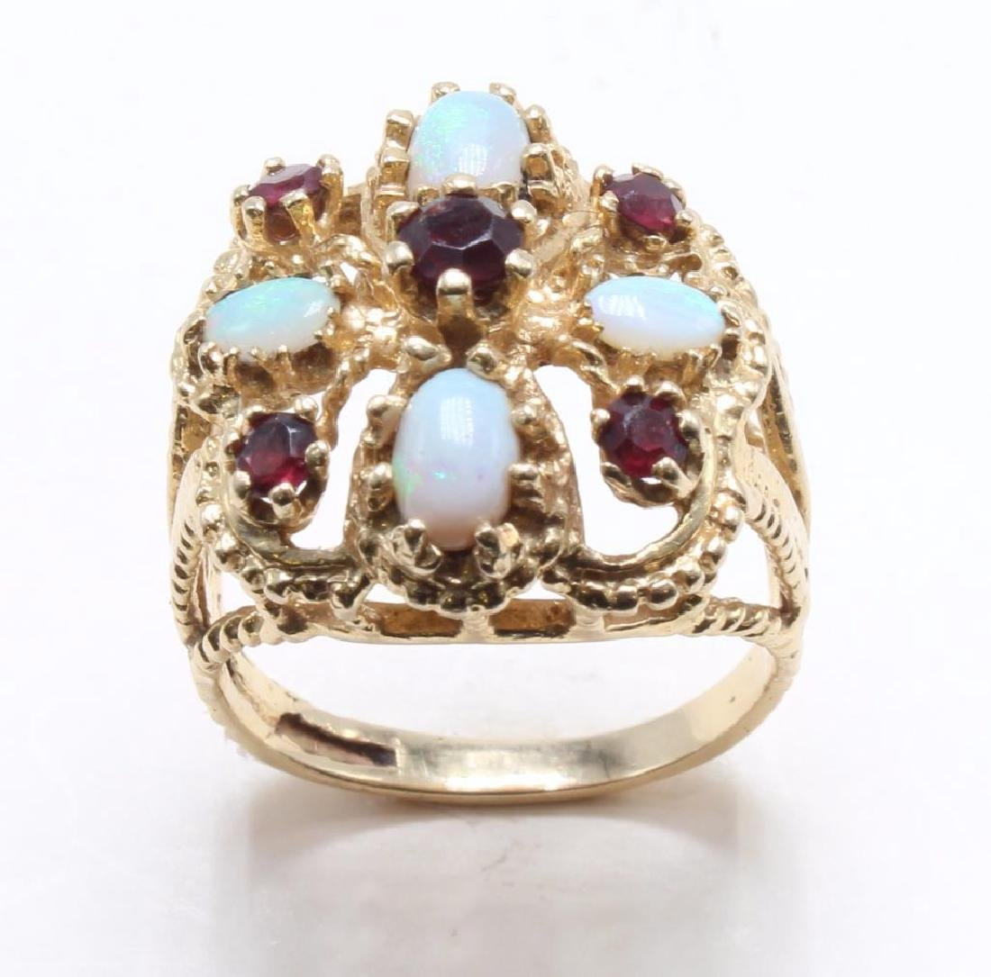 RING. OPAL AND GARNET. 14K YELLOW GOLD - 2