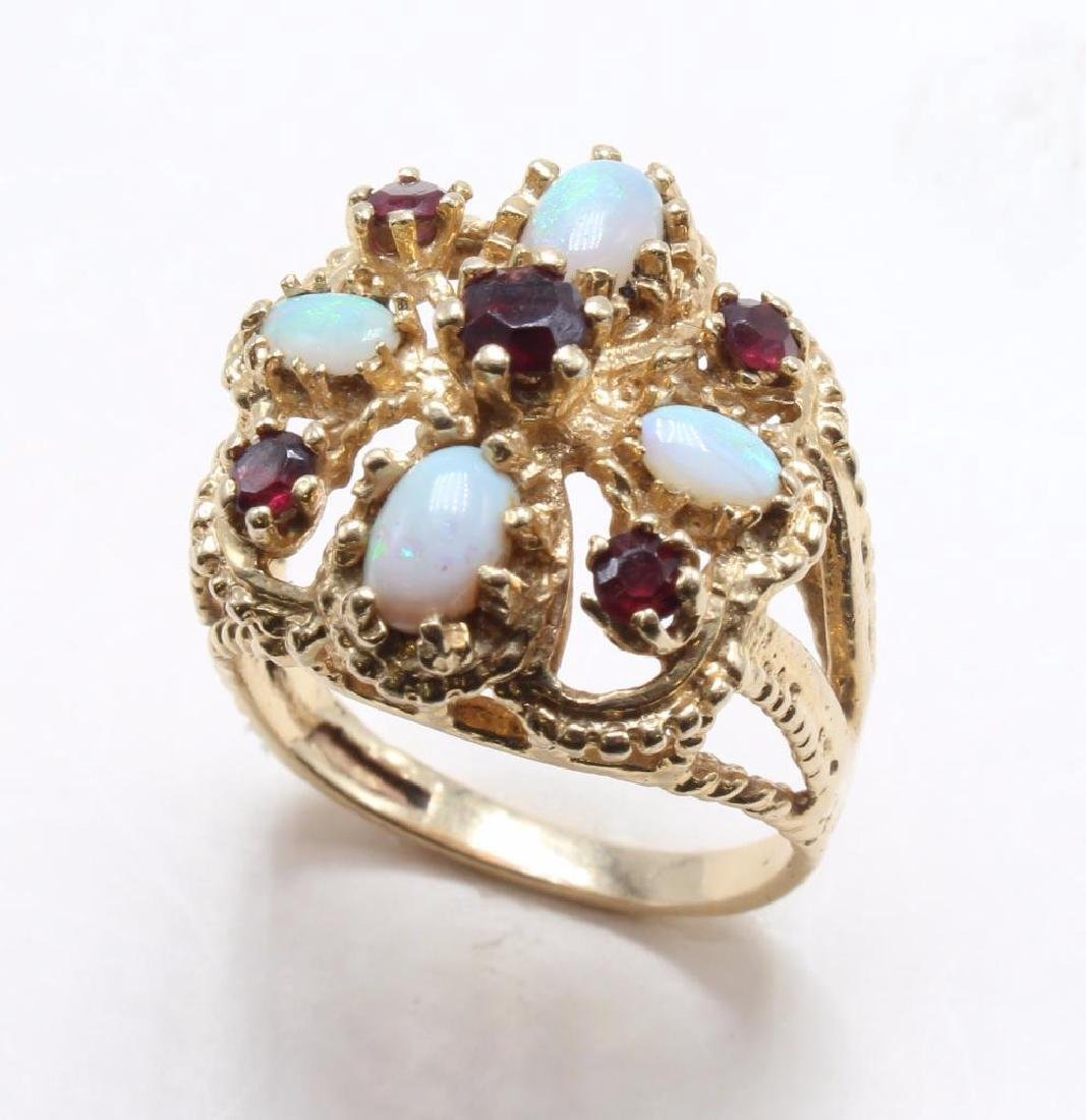 RING. OPAL AND GARNET. 14K YELLOW GOLD - 3