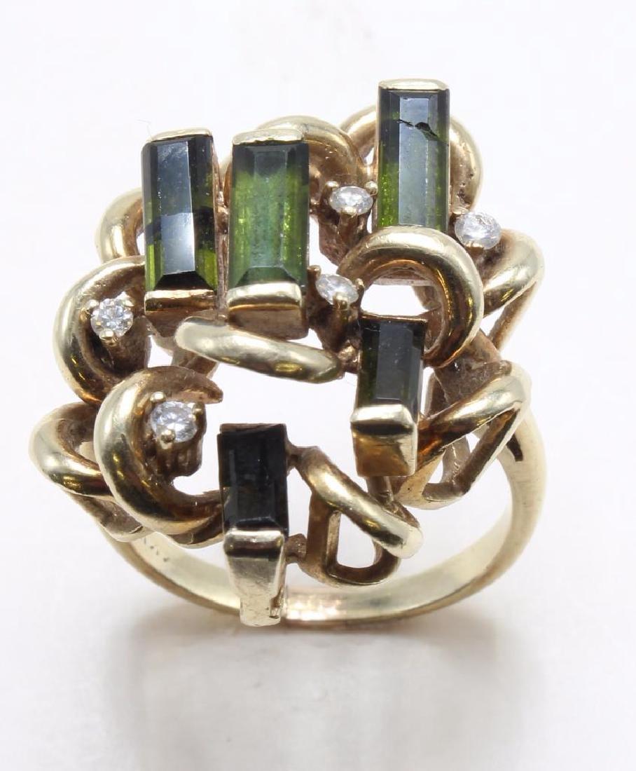 RING. TOURMALINE AND DIAMOND. 14K YELLOW GOLD RING - 2