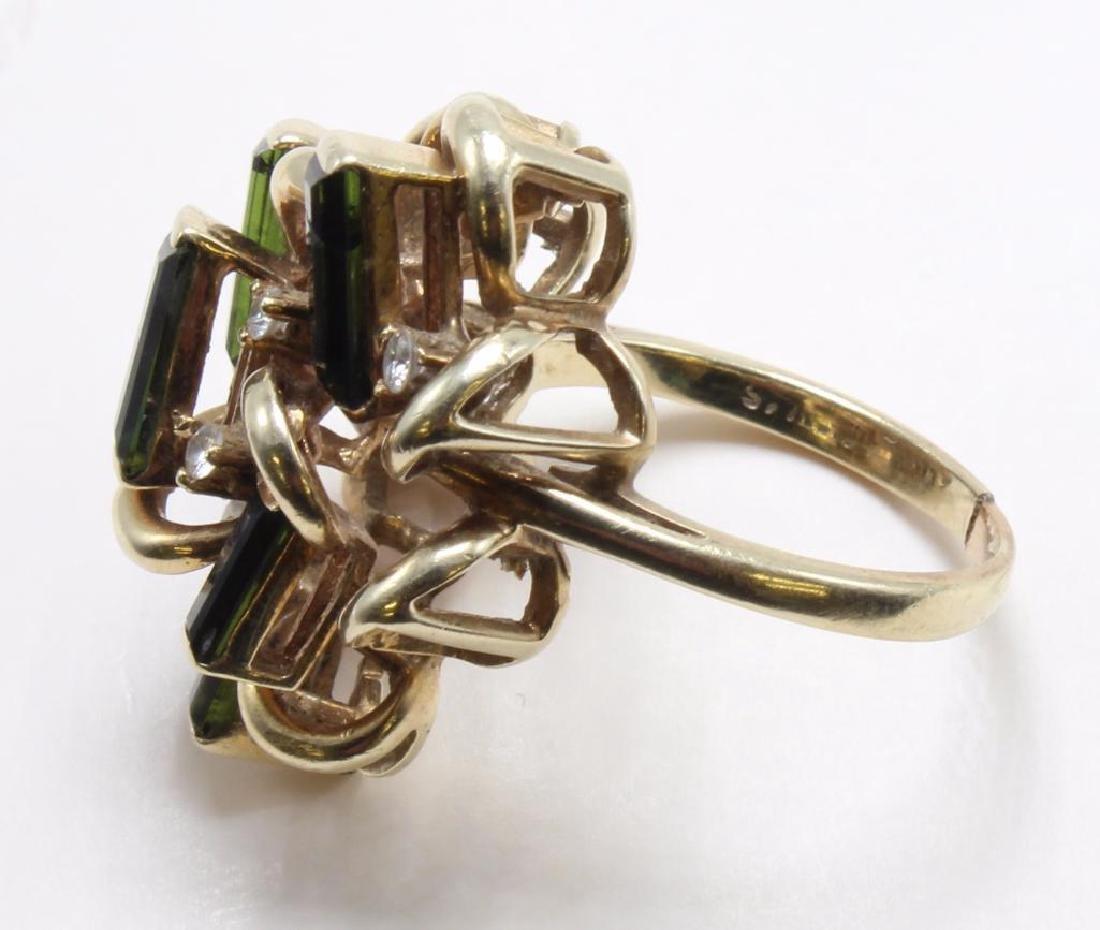 RING. TOURMALINE AND DIAMOND. 14K YELLOW GOLD RING - 3