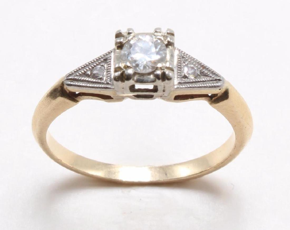 RING. DIAMOND. 14K YELLOW GOLD - 2