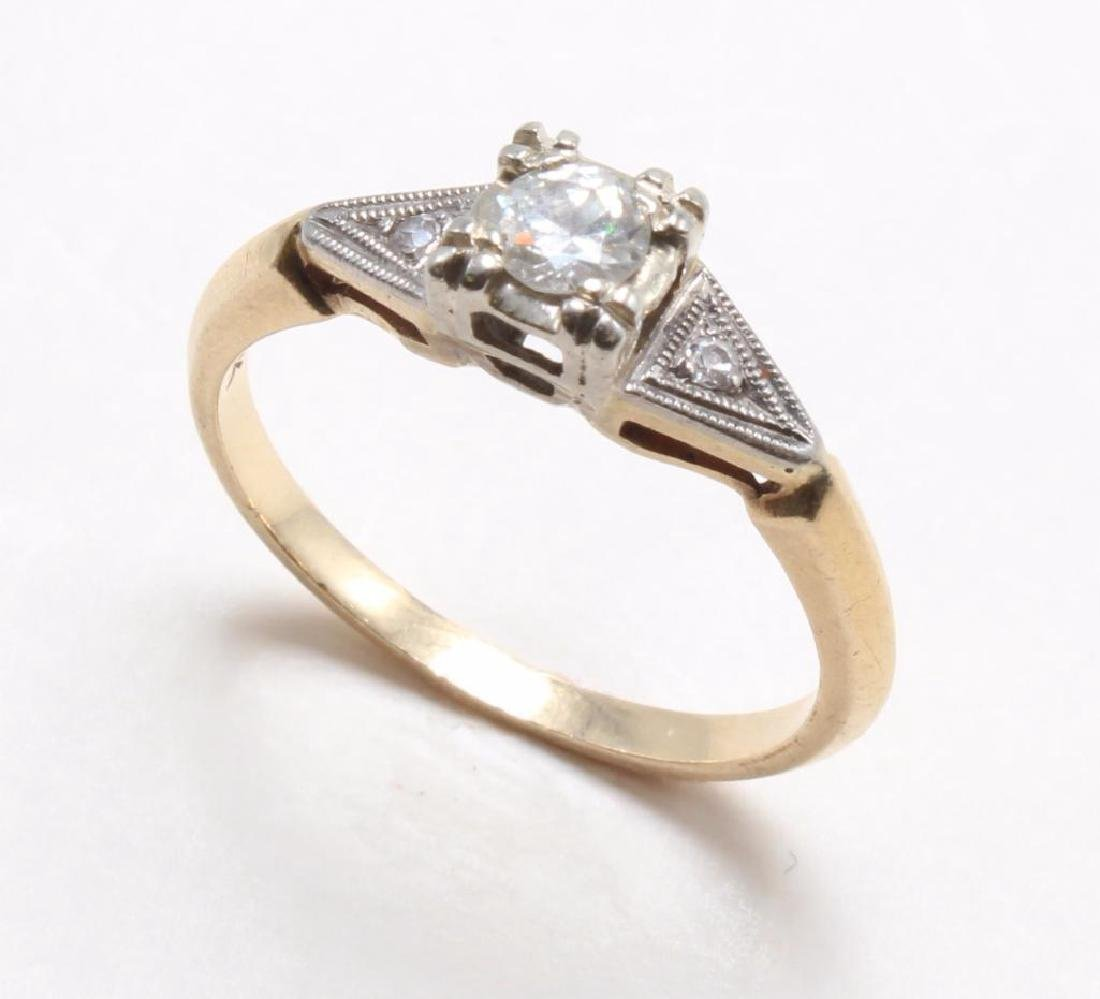 RING. DIAMOND. 14K YELLOW GOLD - 3