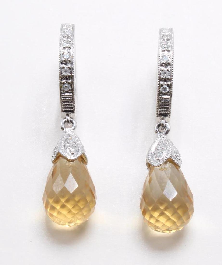 EARRINGS. CITRINE BRIOLETTES. DIAMONDS. 14K WHITE GOLD