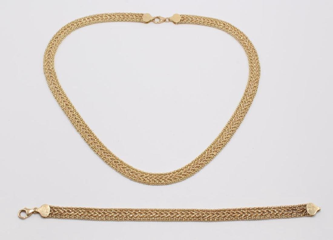 NECKLACE AND BRACELET. 14K YELLOW GOLD
