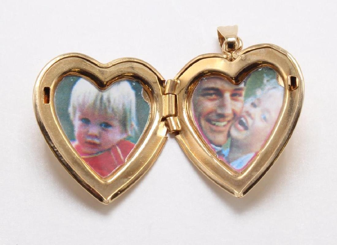 PENDANT. 14K YELLOW GOLD HEART LOCKET WITH DIAMOND - 2