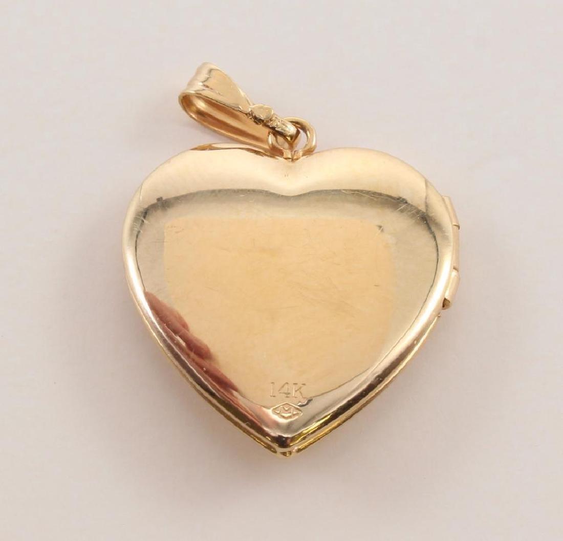 PENDANT. 14K YELLOW GOLD HEART LOCKET WITH DIAMOND - 3