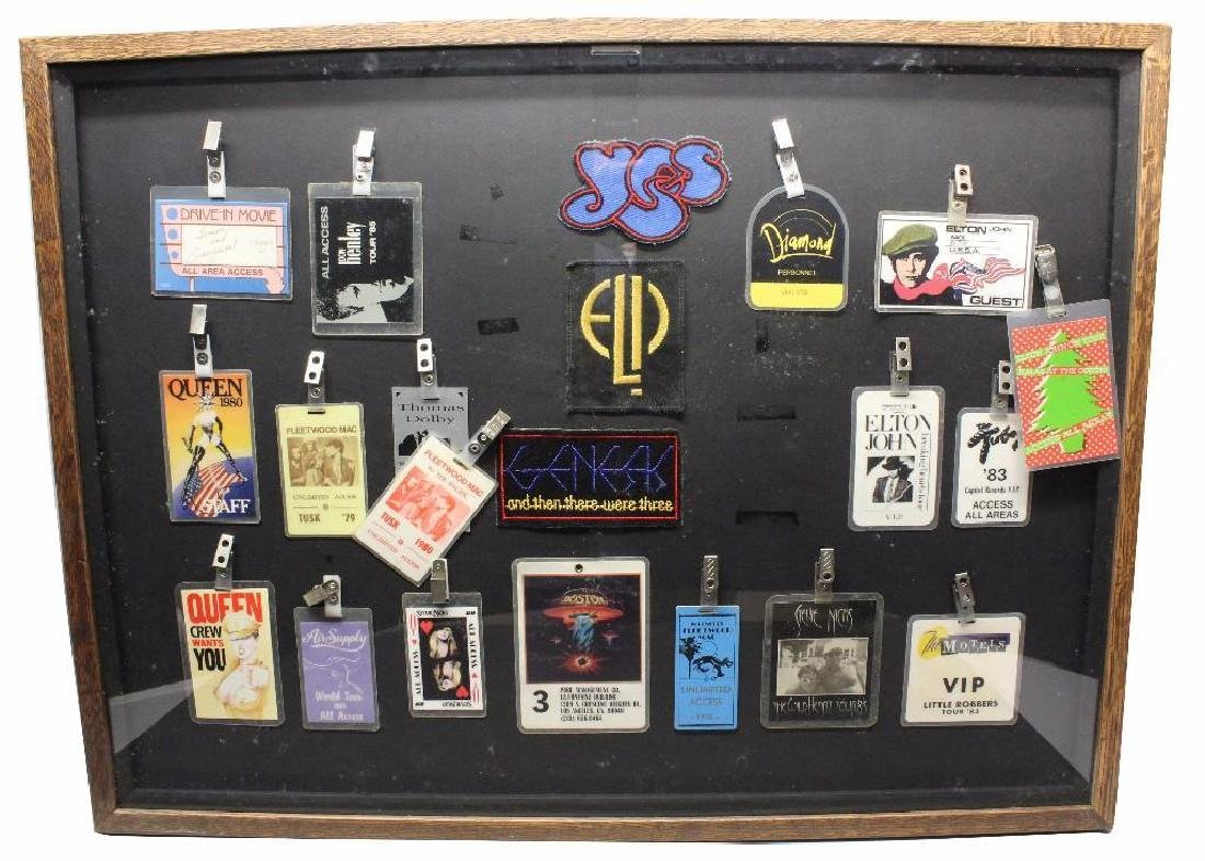 Framed Grouping of Concert Back Stage Passes