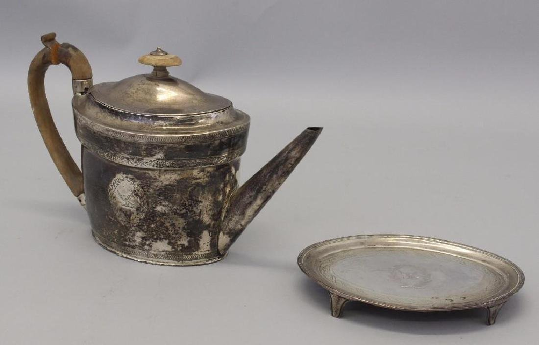 1798 Georgian Sterling Silver Teapot & Stand - 3
