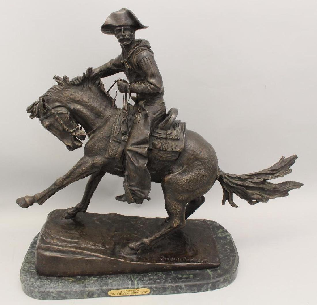 """Attributed to Frederic Remington, """"The Cowboy"""" Bronze"""