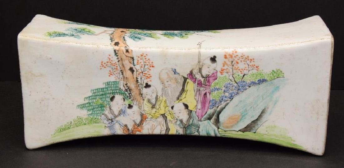 Chinese Paint Decorated Porcelain Pillow