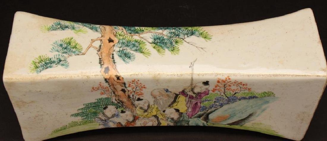 Chinese Paint Decorated Porcelain Pillow - 2