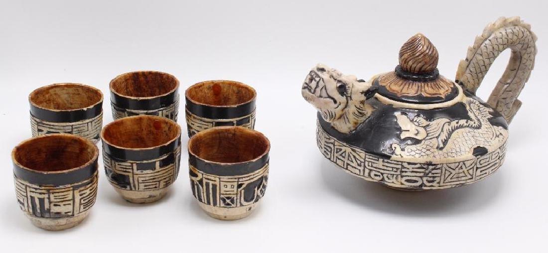 (7) Piece Japanese Stoneware Sake Set