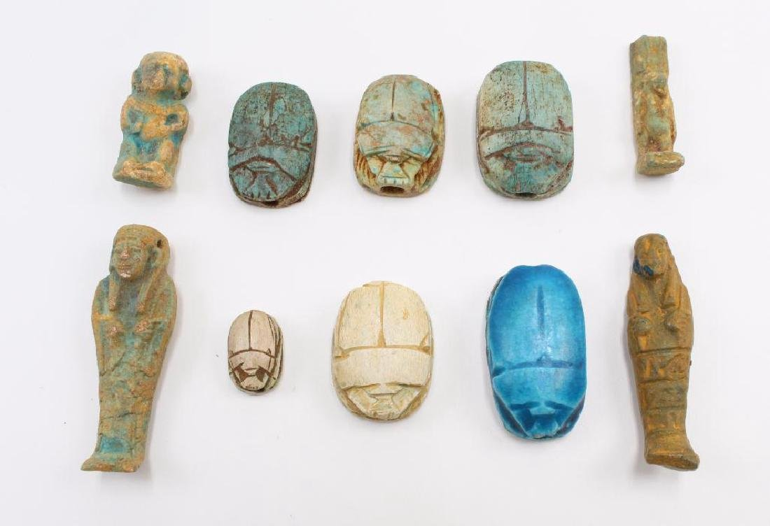 (10) Piece Antique Egyptian Scarab and Pharoh Grouping