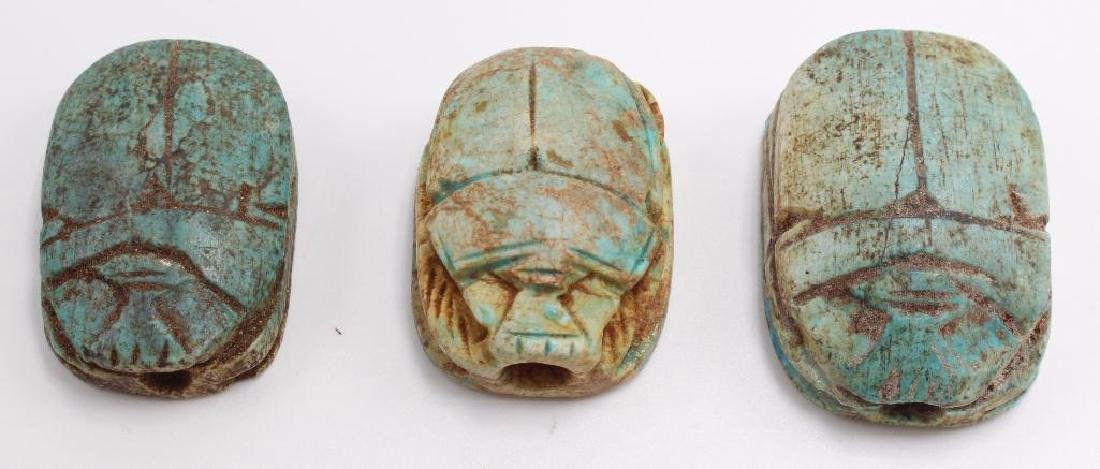 (10) Piece Antique Egyptian Scarab and Pharoh Grouping - 3