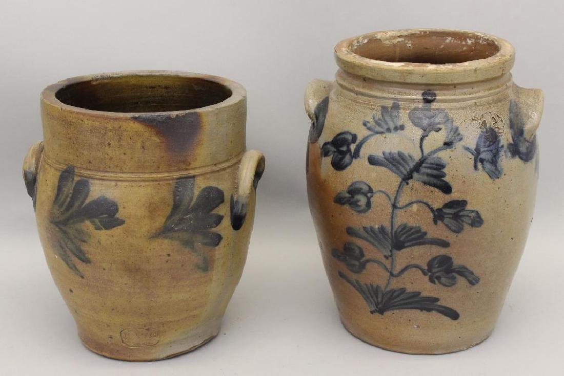 Set of (2) Salt Glazed Stoneware Crocks