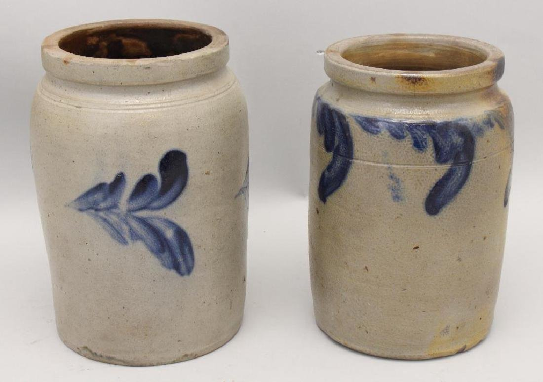 Set of (2) Salt Glazed Stoneware Crocks