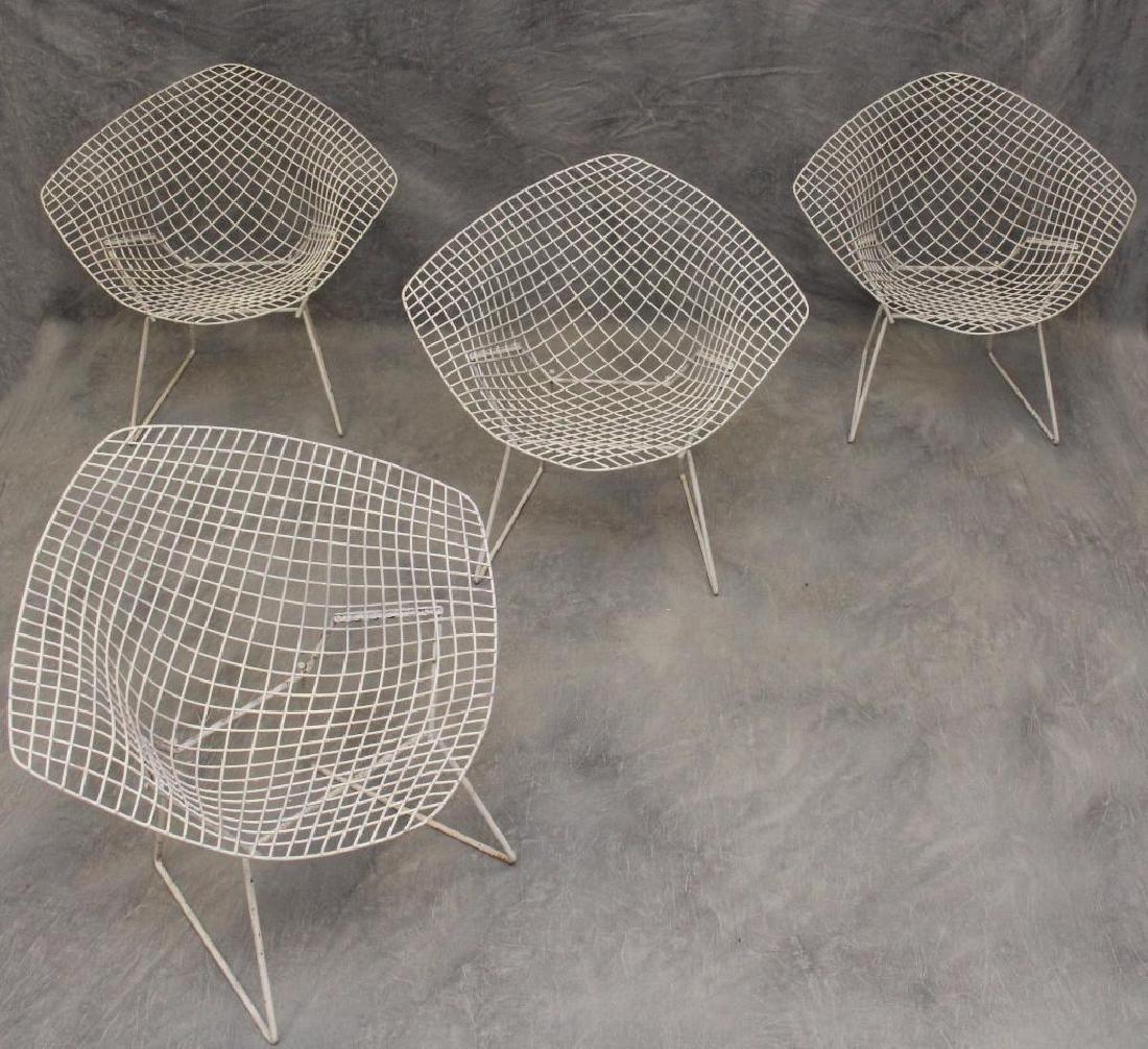 Set of (4) Harry Bertoia Diamond Chairs